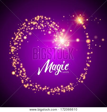 Vector magic glowing background with glitter light particles. Magic background design template.