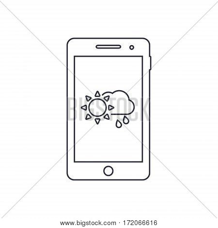 Smartphone outline icon with weather forecast app sign. Vector design template.