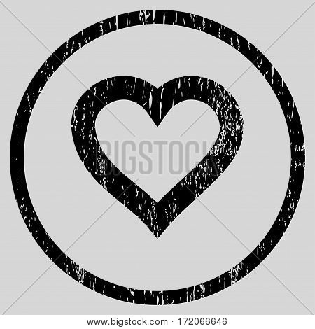 Valentine Heart grainy textured icon for overlay watermark stamps. Rounded flat vector symbol with dirty texture. Circled black ink rubber seal stamp with grunge design on a light gray background.