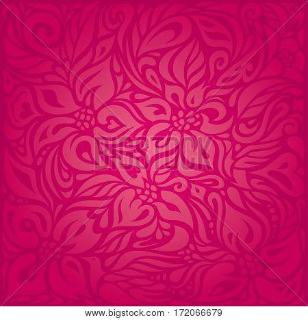 Red floral vector pattern decorative design background