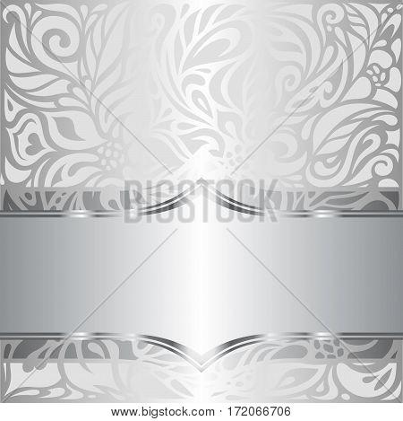 Silver shiny floral vintage pattern background design
