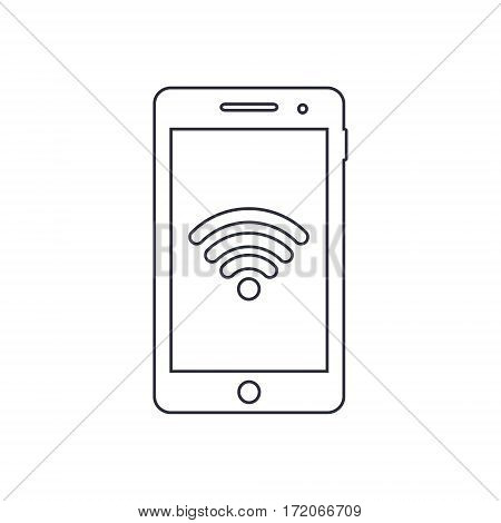 Smartphone outline icon with wifi sign. Vector design template.