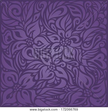 Violet purple Floral  vintage seamless pattern background design