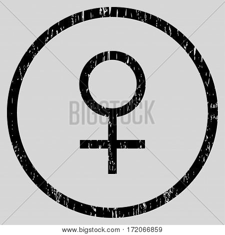 Venus Female Symbol grainy textured icon for overlay watermark stamps. Rounded flat vector symbol with scratched texture.