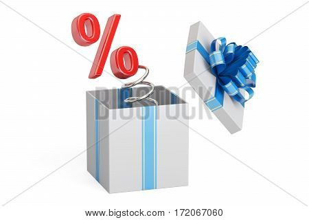 Holidays Discount and Sale concept. Percent Symbol Jack in the Gift Box 3D rendering isolated on white background