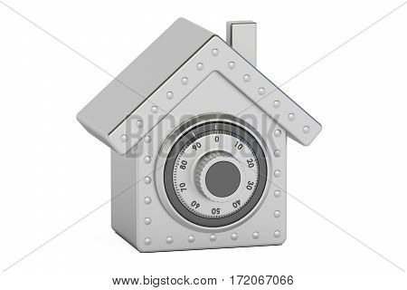 Home safe. Combination safe box in shape of house 3D rendering isolated on white background