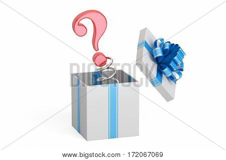 Question Mark Jack in the Gift Box 3D rendering isolated on white background