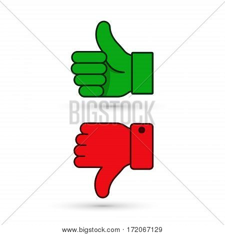 Thumb up thumb down green and red icon. Vector evaluation symbol.