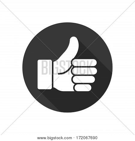 Thumb up vector logo black icon. Like round simple isolated sign symbol.