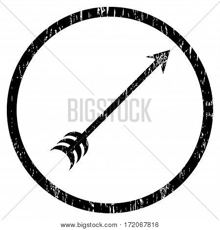 Arrow grainy textured icon for overlay watermark stamps. Rounded flat vector symbol with dirty texture. Circled black ink rubber seal stamp with grunge design on a white background.