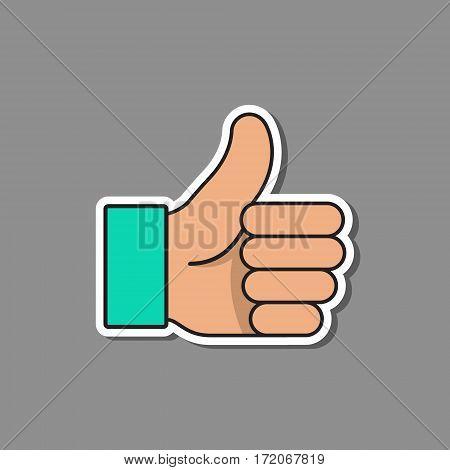 Thumb up like sticker icon vector isolared illustration.