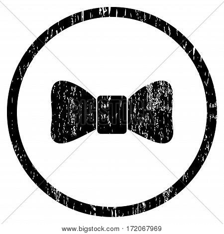 Bow Tie grainy textured icon for overlay watermark stamps. Rounded flat vector symbol with scratched texture. Circled black ink rubber seal stamp with grunge design on a white background.