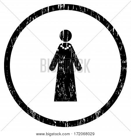Bride grainy textured icon for overlay watermark stamps. Rounded flat vector symbol with dust texture. Circled black ink rubber seal stamp with grunge design on a white background.