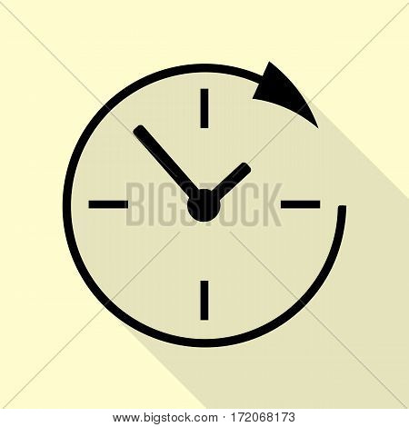 Service and support for customers around the clock and 24 hours. Black icon with flat style shadow path on cream background.