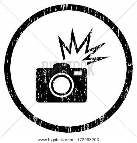 Camera Flash grainy textured icon for overlay watermark stamps. Rounded flat vector symbol with dirty texture. Circled black ink rubber seal stamp with grunge design on a white background.