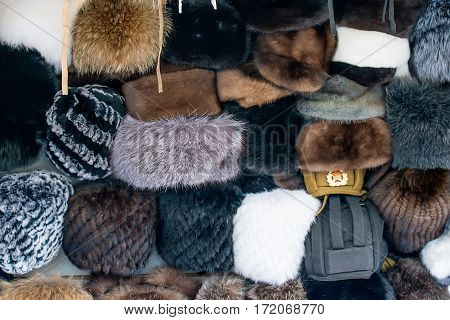 Fur caps for cold winter on Russian marketplace