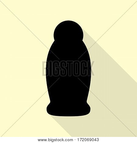Gel, Foam Or Liquid Soap. Dispenser Pump Plastic Bottle silhouette. Black icon with flat style shadow path on cream background.