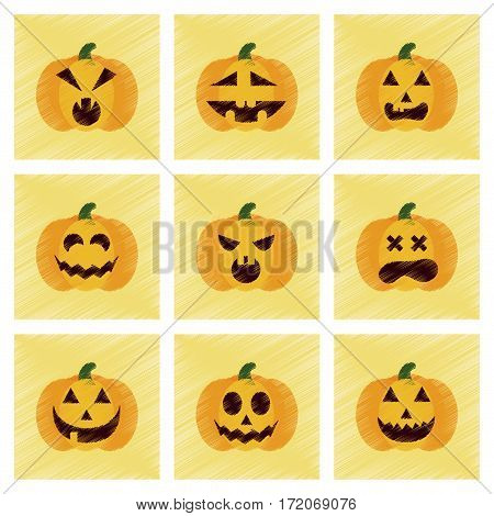 assembly flat shading style icons of halloween pumpkins