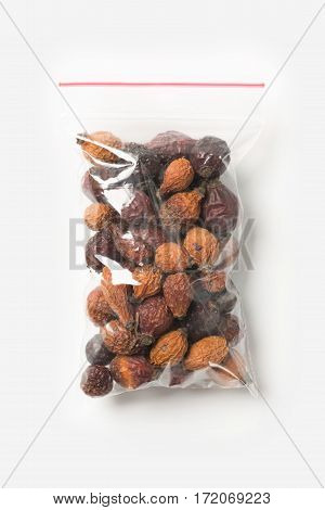 Plastic Transparent Zipper Bag With Home Dried Briar Isolated On White, Vacuum Package Mockup With R