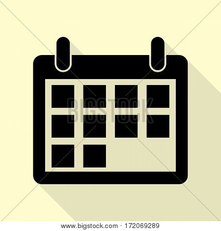 Calendar sign illustration. Black icon with flat style shadow path on cream background.