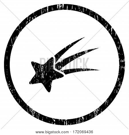 Falling Star grainy textured icon for overlay watermark stamps. Rounded flat vector symbol with scratched texture. Circled black ink rubber seal stamp with grunge design on a white background.