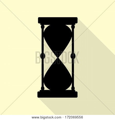 Hourglass sign illustration. Black icon with flat style shadow path on cream background.