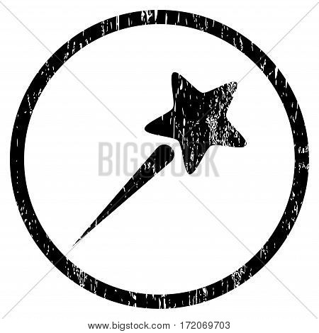 Flying Star grainy textured icon for overlay watermark stamps. Rounded flat vector symbol with scratched texture. Circled black ink rubber seal stamp with grunge design on a white background.