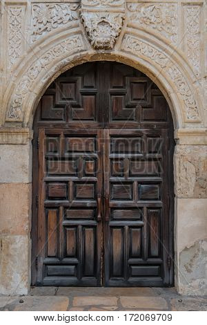 Old Spanish Mission Doors made of thick carved wood