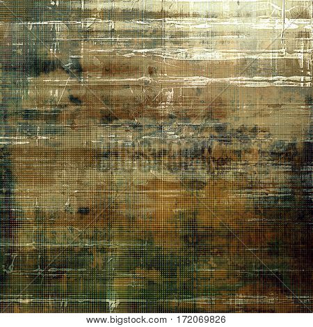 Old-style dirty background with textured vintage elements and different color patterns: yellow (beige); brown; gray; green; white