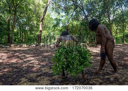 Vedda people performing hunt. Veddas are an indigenous people of Sri Lanka living in tribes in the jungle