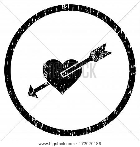 Heart Arrow grainy textured icon for overlay watermark stamps. Rounded flat vector symbol with unclean texture. Circled black ink rubber seal stamp with grunge design on a white background.