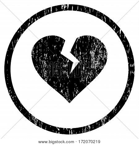 Heart Break grainy textured icon for overlay watermark stamps. Rounded flat vector symbol with unclean texture. Circled black ink rubber seal stamp with grunge design on a white background.