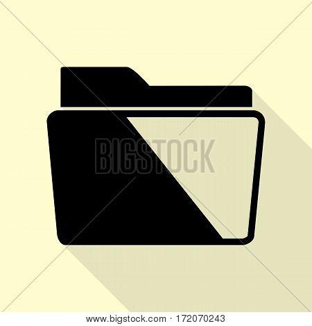 Folder sign illustration. Black icon with flat style shadow path on cream background.