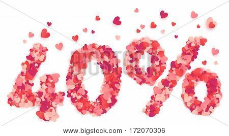 40 percent vector percentage number made from pink and red confetti hearts