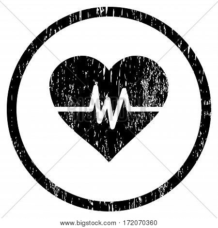 Heart Pulse grainy textured icon for overlay watermark stamps. Rounded flat vector symbol with unclean texture. Circled black ink rubber seal stamp with grunge design on a white background.