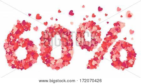 60 percent vector percentage number made from pink and red confetti hearts