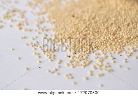 Amaranth seeds - alternative gluten-free grain flour for baking and cooking. Isolated on white.