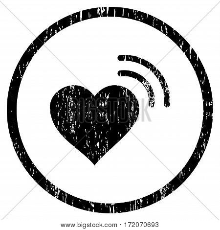 Heart Radio Signal grainy textured icon for overlay watermark stamps. Rounded flat vector symbol with dust texture. Circled black ink rubber seal stamp with grunge design on a white background.