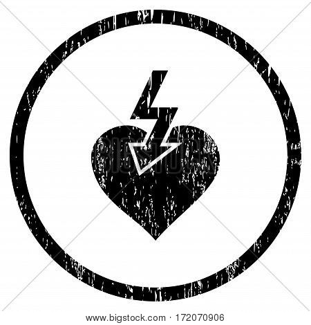 Heart Shock Strike grainy textured icon for overlay watermark stamps. Rounded flat vector symbol with dust texture. Circled black ink rubber seal stamp with grunge design on a white background.