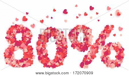 80 percent vector percentage number made from pink and red confetti hearts