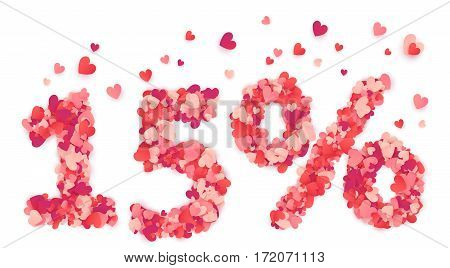 15 percent vector percentage number made from pink and red confetti hearts