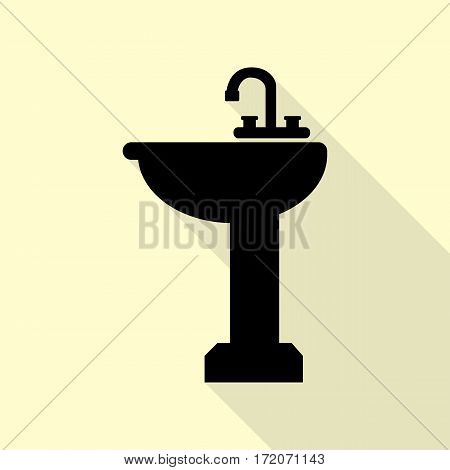 Bathroom sink sign. Black icon with flat style shadow path on cream background.