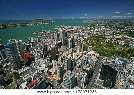 Skyline of Auckland, New Zealand, as taken from the Sky Tower, facing over the Waitemata Harbor.