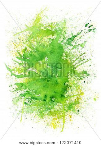 Creative green color illustration with blots on white background