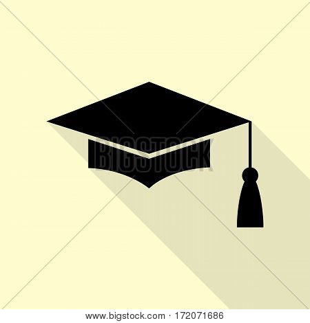 Mortar Board or Graduation Cap, Education symbol. Black icon with flat style shadow path on cream background.
