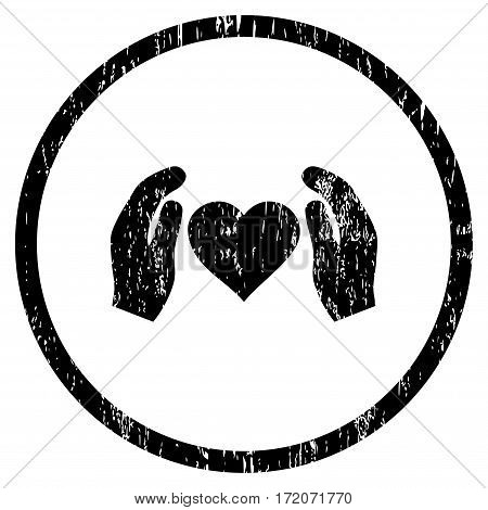 Love Care Hands grainy textured icon for overlay watermark stamps. Rounded flat vector symbol with dirty texture. Circled black ink rubber seal stamp with grunge design on a white background.