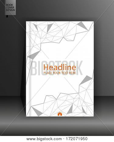 Book brochure cover design in low poly A4 for annual report flyer banner books article journal conference business forum. Modern graphic Vector.