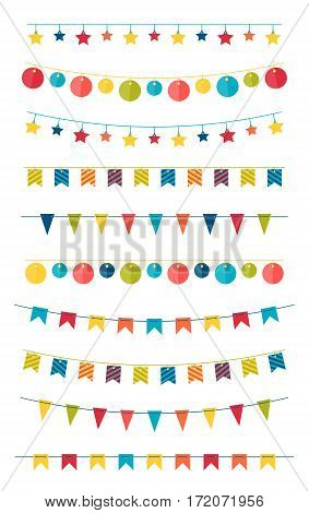 Set of multicolored flat buntings garlands with ornament isolated on white background. Design elements for decoration of greetings cards, invitations.