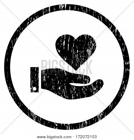 Love Heart Offer Hand grainy textured icon for overlay watermark stamps. Rounded flat vector symbol with unclean texture. Circled black ink rubber seal stamp with grunge design on a white background.