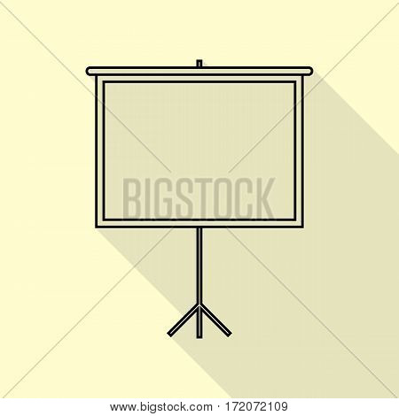 Blank Projection screen. Black icon with flat style shadow path on cream background.
